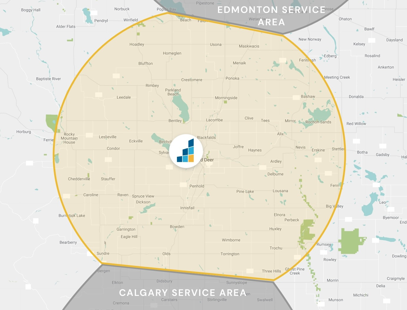 Red Deer's Location Map