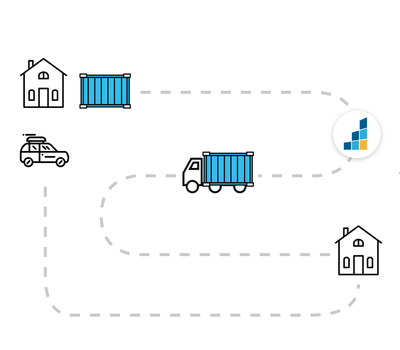 Graphic showing how BigSteelBox moving service works with storage in between homes