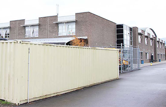 Storage container at a school